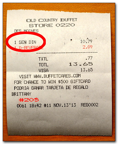 Senior Citizen Receipt (231044)