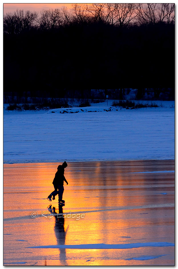 Ice Skaters at Sunset - Image 293986