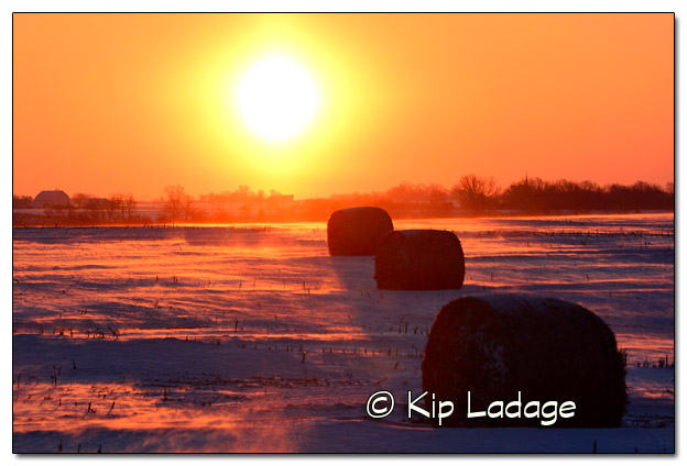 Cold Winter Sunrise and Bales - Image 351399