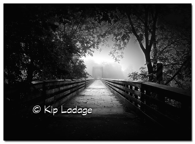 Root River Trail (Bridge in Fog) - Image 447705monochrome (© Kip Ladage)