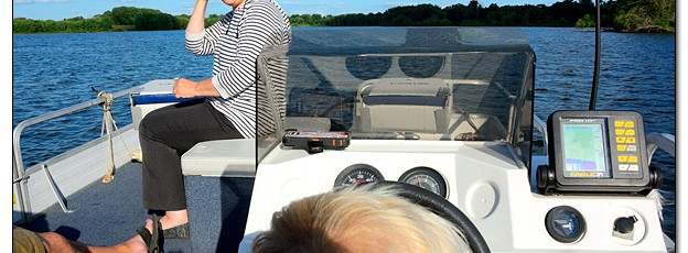 """Logan Driving the Boat During """"Pizza and Pontoon Night"""" - Image 454432 (© Kip Ladage)"""