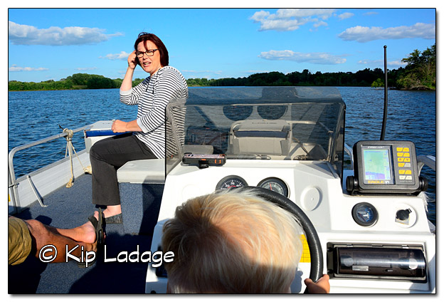 "Logan Driving the Boat During ""Pizza and Pontoon Night"" - Image 454432 (© Kip Ladage)"