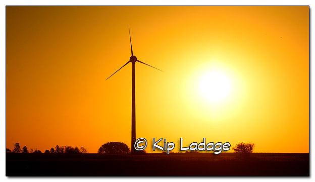 Wind Turbine and Rising Sun - Image 469720 (© Kip Ladage)